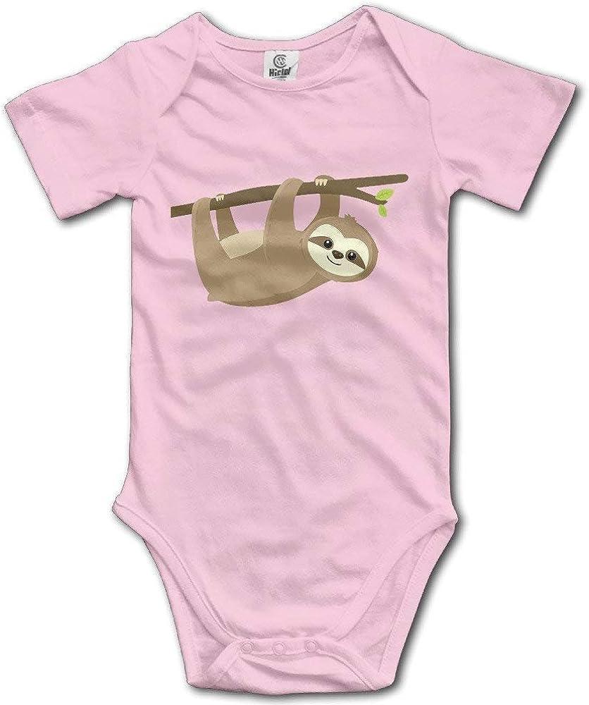 HYstyless Sloth Lying On Tree Romper Baby Boys Girls Short Sleeve Bodysuit Jumpsuit