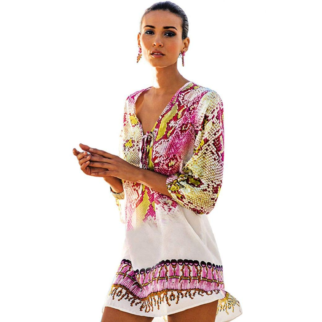 heekpek Mujer Estampada Pareo Playa Traje de Ba/ño Verano Flojo Bikini Cover up Casual Boho Style Vestido