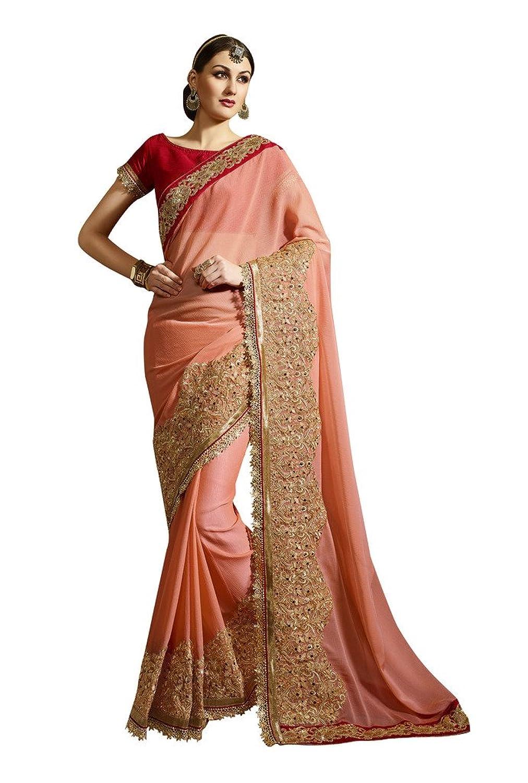 EthnicWear Beautiful Peach Color Elegant Best Designer Saree Saris
