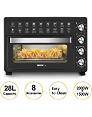 MIC 28L Electric Oven with 60 Min Timer Air Fryer Multi-Functional Bench Toaster Rotisserie Low Fat Grill Bake Mini Portable Hotplates - Black