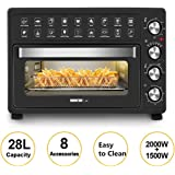 MIC 28L Electric Oven with 60 Min Timer Air Fryer Multi-Functional Bench Toaster Rotisserie Low Fat Grill Bake Mini Air Fryer Oven- Black