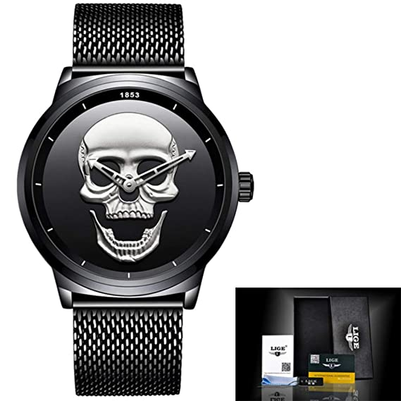 ... 2018 Relojes Men Watch Top Brand Casual Fashion 3D Skull Stainless Steel Waterproof Military Sports Wristwatch Relogio Masculino 76 (Blakc Silver): Cell ...