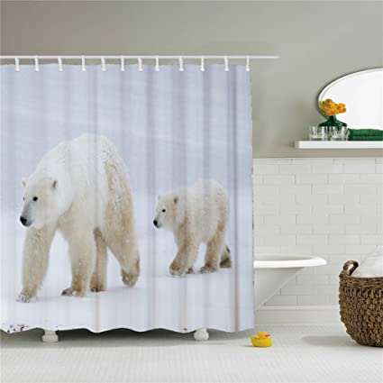 Amazon Unique Cute Panda And Polar Bear Shower Curtains For