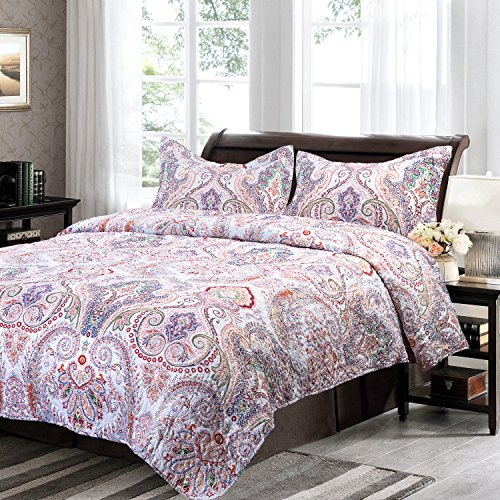Bedsure Flourish Style Floral Design Quilt Set Patchwork Quilt for All Season-- Quilt and Sham, Bedspread and