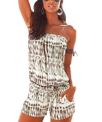 ffe88007c4c5 Elite99 Women Summer Off Shoulder Playsuit Ladies Jumpsuit Holiday Mini Sun  Dress  Amazon.co.uk  Clothing