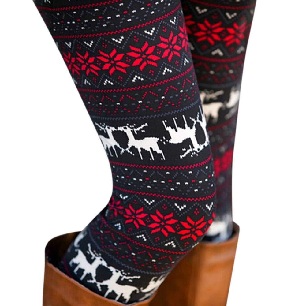 BaZhaHei Christmas Fashion Women Leggings Lady Elasticity Skinny Printed Stretchy Pants Full Length Elastic Waist Leggings Best Gift for Lovers