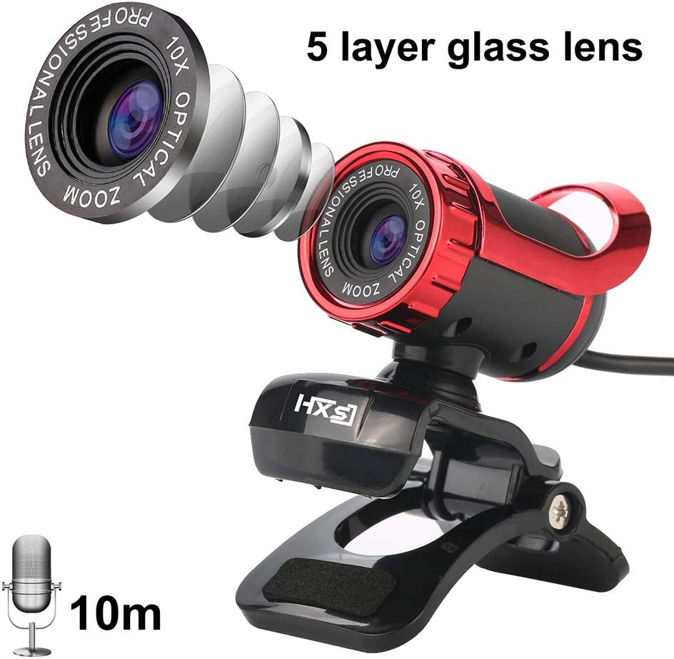 HD USB Webcam with Microphone Network Camera,12MP Clip On PC Laptop Desktop Computer Web Camera Live Streaming Cam,5 Layer Glass Lens Video Cameras for Skype YouTube Games Conference Black