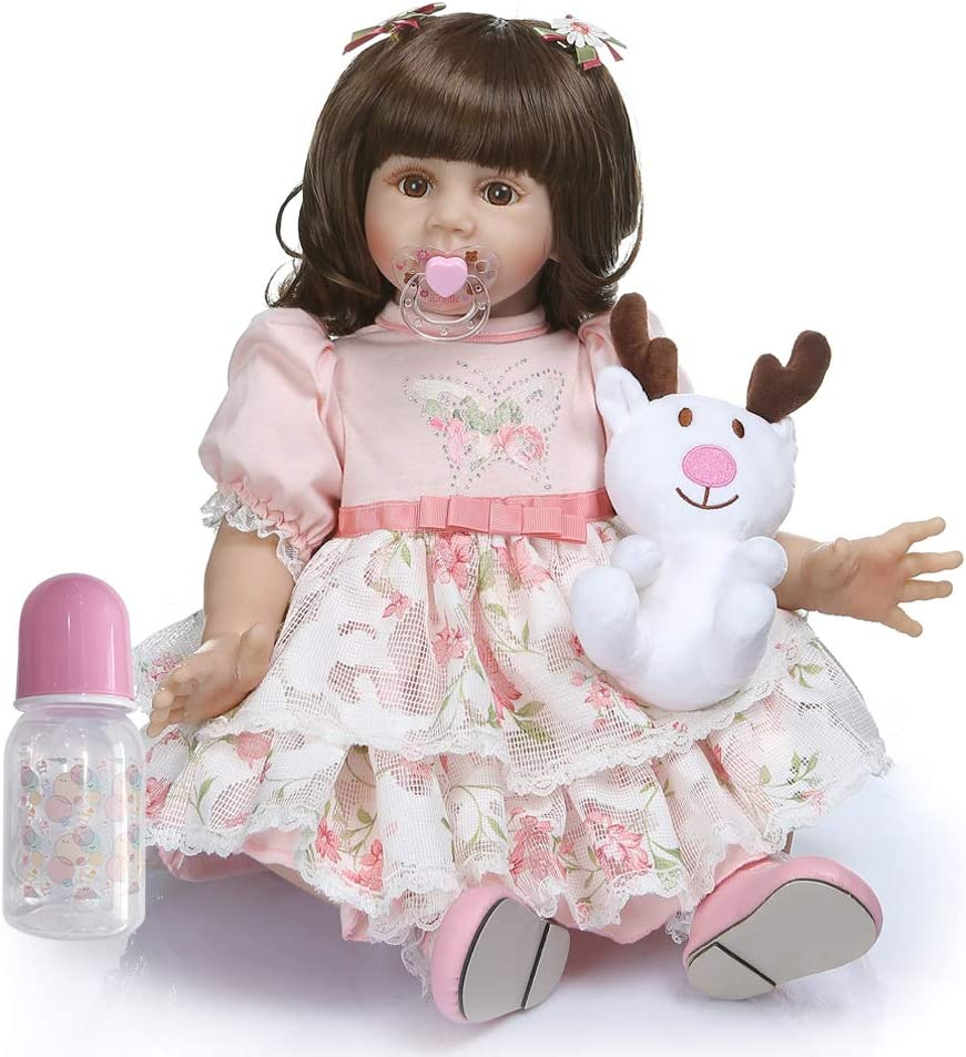 A iCradle Real Life 24inch 60cm Reborn Toddler Fridolin Soft Silicone Bebe Doll Lovely Princess Long Hair Doll Toy for Ages 3+