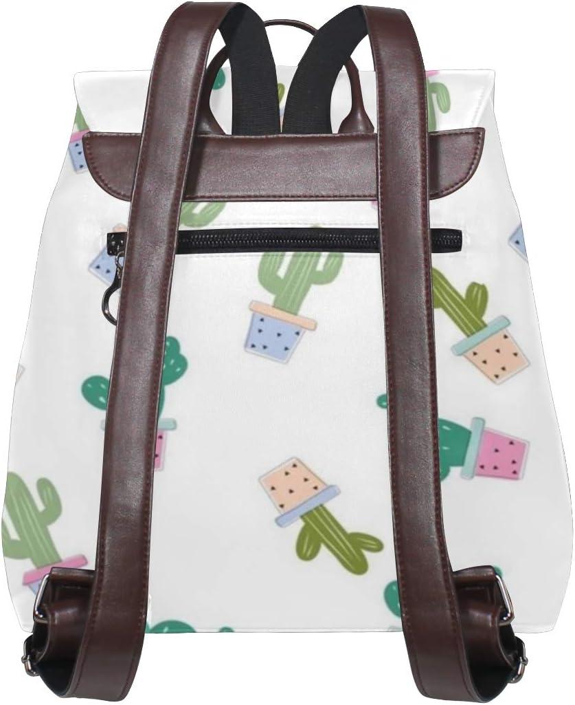 Cactus Backpack PU Leather School Shoulder Bag Rucksack for Women Girls Ladies Backpack Travel Bag