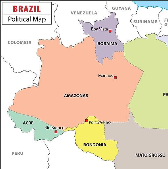 Amazoncom Brazil Political Map W X H Office Products - Brazil political map