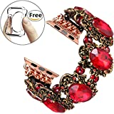 Fastgo for Apple Watch Band 38mm, Antique Retro Rhinestone Jewelry Style for Iwatch Strap(Red Rhinestone - 38mm)