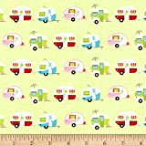 Riley Blake Glamper-licious Campers Green Fabric By The Yard