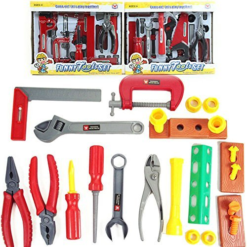 HTKF-US 19 Pcs Durable Kids Toy Tool Set | Children Own Repair Tools, Toddler Stem Toys for Boys and Girls