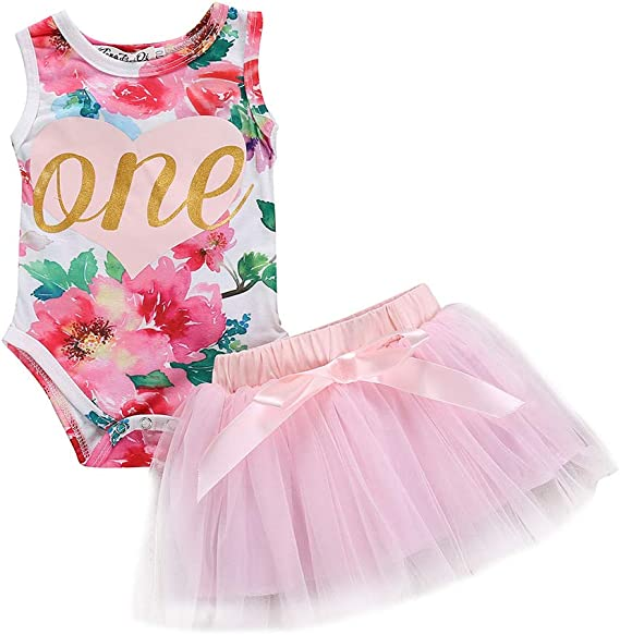Suntrade Baby Girls 1st Birthday Outfit Sleeveless Dress Cartoon Printed Floral Romper Top and Lace Tutu Skirt Dress