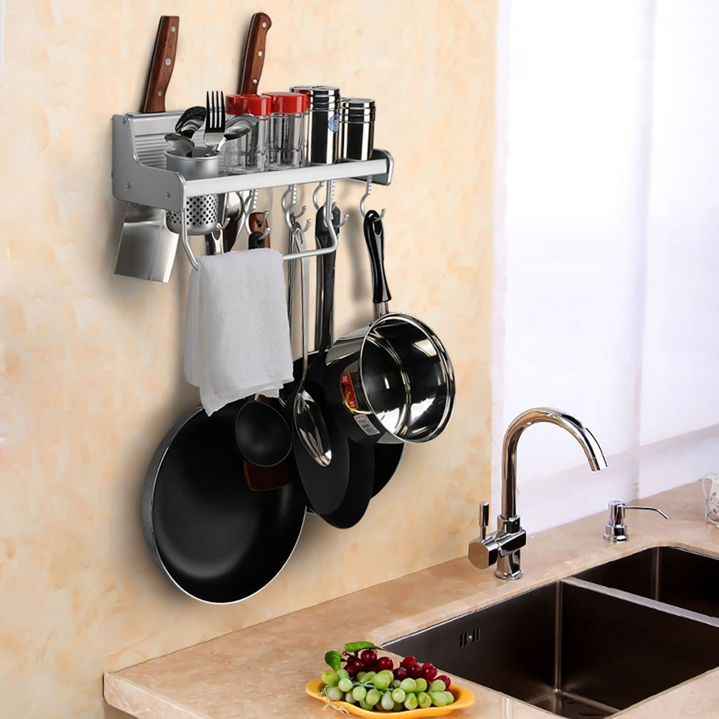 Kitchen Wall Pot Pan Rack, Plumeet 5 in 1 Wall Mounted Hanging Kitchen Organizer with 8 Pot Hook & 3 Knife Holder & Utensil Cup & Spice Rack & Towel Rack, Aluminum (15 inch)
