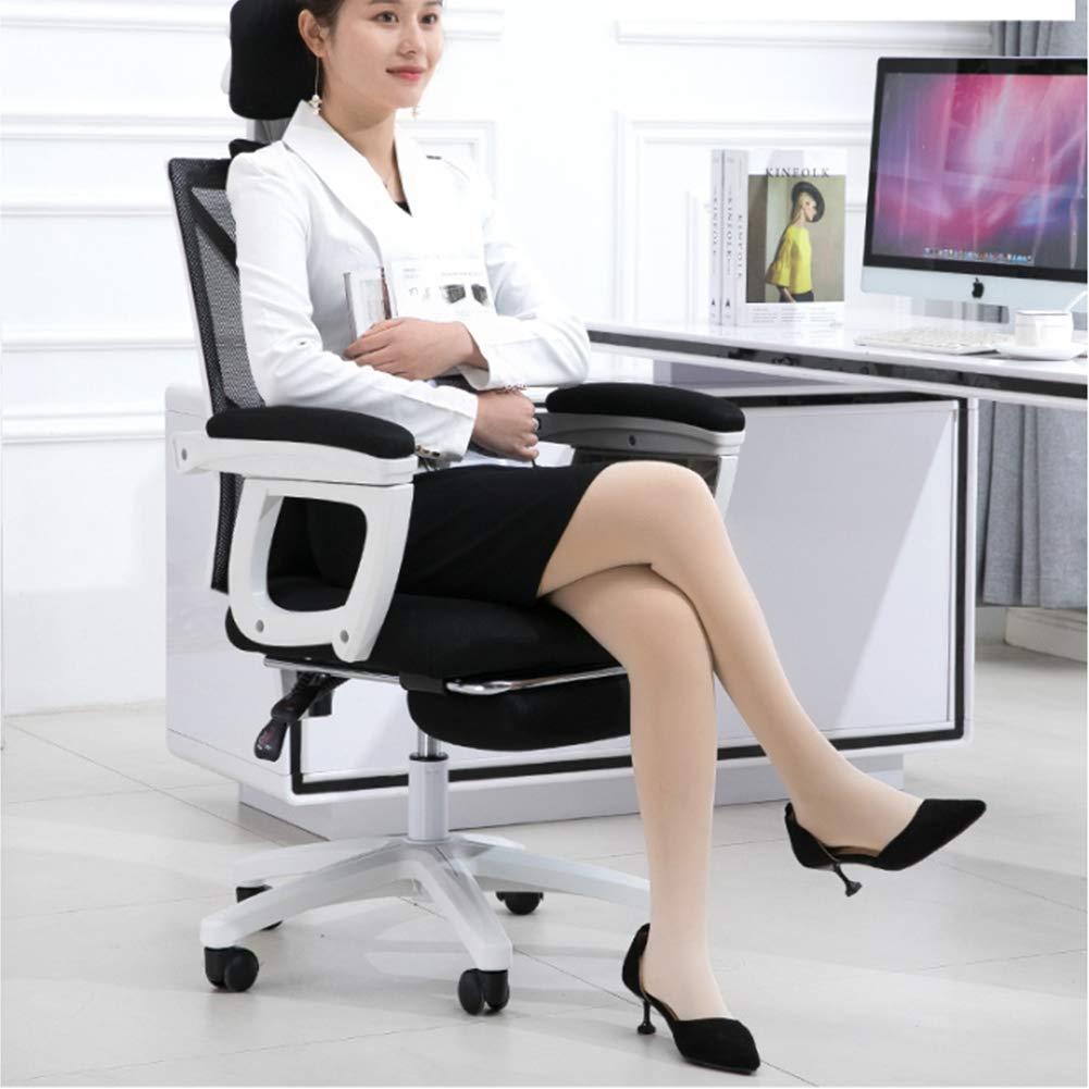HongYu spelstol svängbar ergonomisk kontorsstol med infällbart fotstöd, multifunktionellt nackstöd, stöd för ryggstöd 6 1