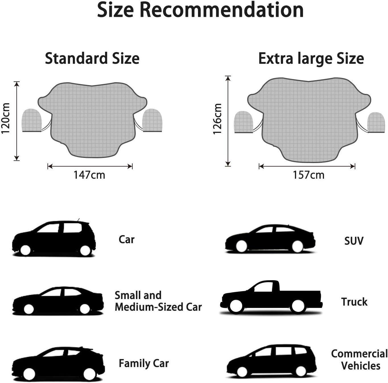 Windshield Ice Cover Dust Sun Shade Protector in All Weather Fxexblin Car Windshield Snow Cover SUV Magnetic Snow Cover with Two Mirror Covers 147/×120cm Small