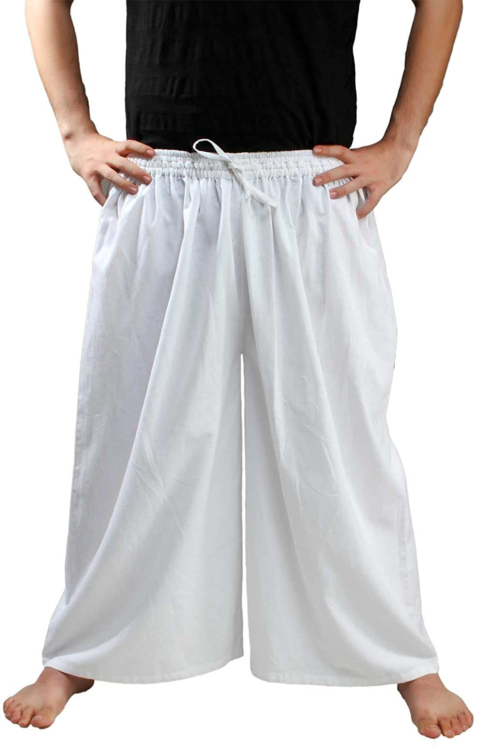 Deluxe Adult Costumes - Men's white wide leg draw string pirate seamen slop pants by ThePirateDressing