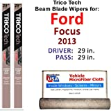 Beam Wiper Blades for 2013 Ford Focus Driver & Passenger Trico Tech Beam Blades Wipers Set