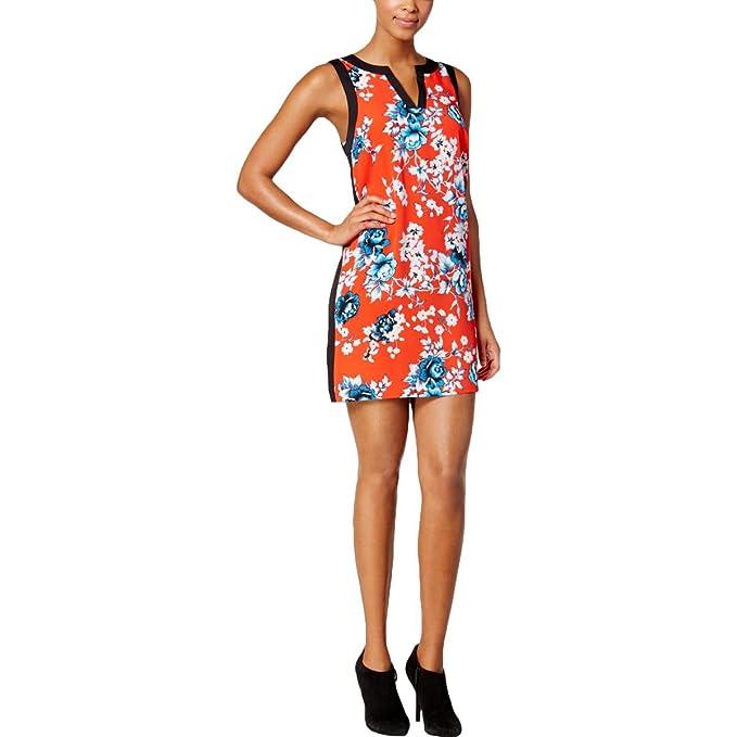 Kensie Womens Split Neck Sleeveless Cocktail Dress Red M At Amazon