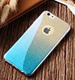 Amozo® Gradient Glitter Skin Soft Silicone Slim Back Cover Case for Apple iPhone 6S & 6, Blue Color