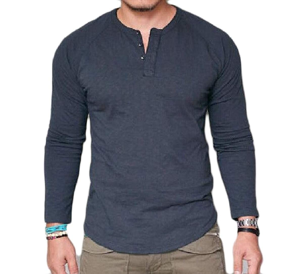 Pandapang Mens Vintage Stretch Raglan Sleeve Curved Hem Henley Top Tee T-Shirts Blue L