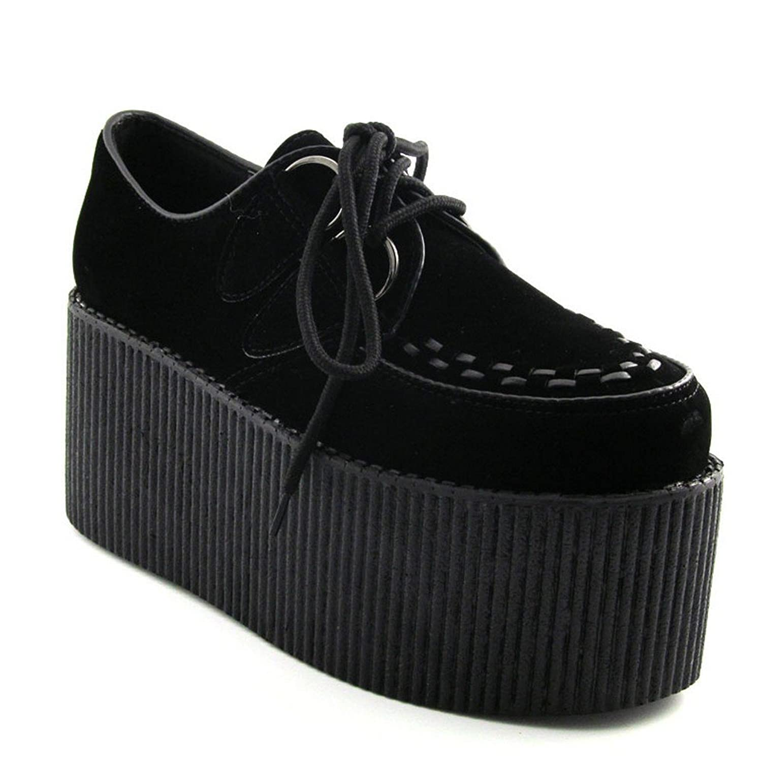 LADIES HIGH PLATFORM WOMENS TRENDY RETRO FLAT TRIPLE CREEPER 3 ...