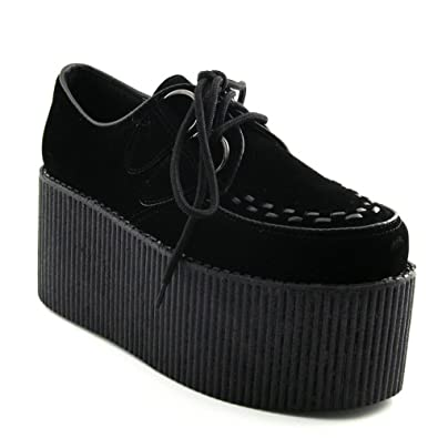 e2442f8ea1862 ESSEX GLAM Womens Platform Retro Black Faux Suede Tripple Creeper Shoes