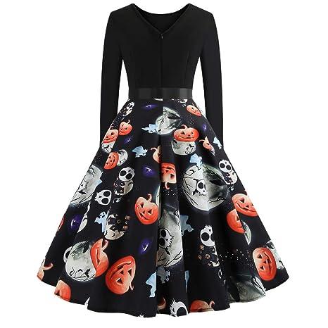 Yvelands Vestidos para Mujer Manga Larga Pumpkin Print Mini Vestido de Halloween Daily Paty ¡Caliente!: Amazon.es: Ropa y accesorios