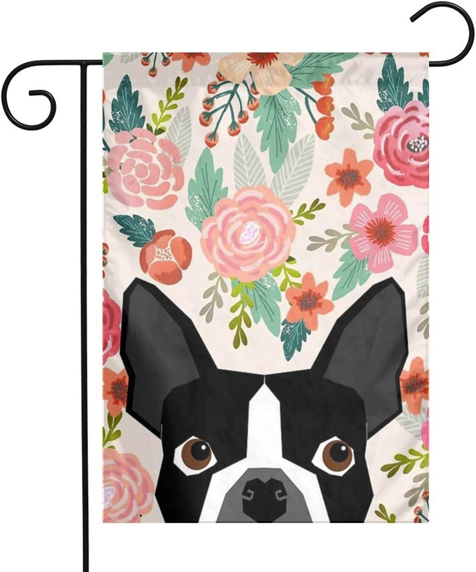 Amazon Com Boston Terrier Garden Flag Small Flower Dog House Flag Welcome Holiday Yard Flag Spring Garden Decor Dogs Flag Banner Double Sided Outdoor Flags 12x18 Garden Outdoor
