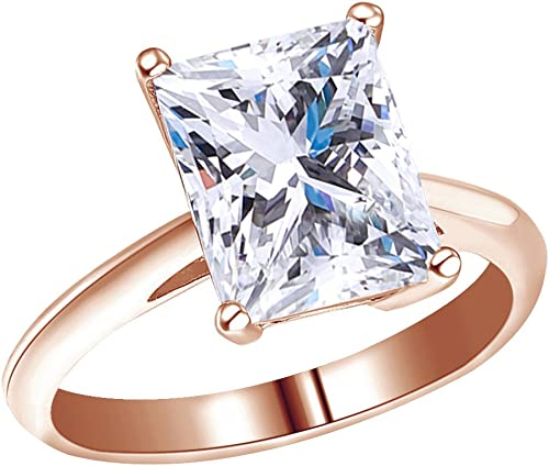 Wishrocks Round Cut White Cubic Zirconia Engagement Ring in 14K Gold Over Sterling Silver