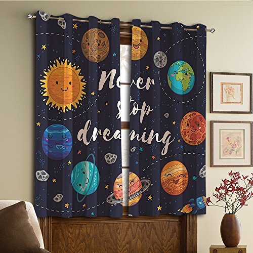 Custom design curtains/Vintage Lace Window Curtain/Grommet Top Blackout Curtains/Thermal Insulated Curtain For Bedroom And Kitchen-Set of 2 Panels(nets and Star Cluster Solar System Moon and Comets) by NALAHOMEQQ