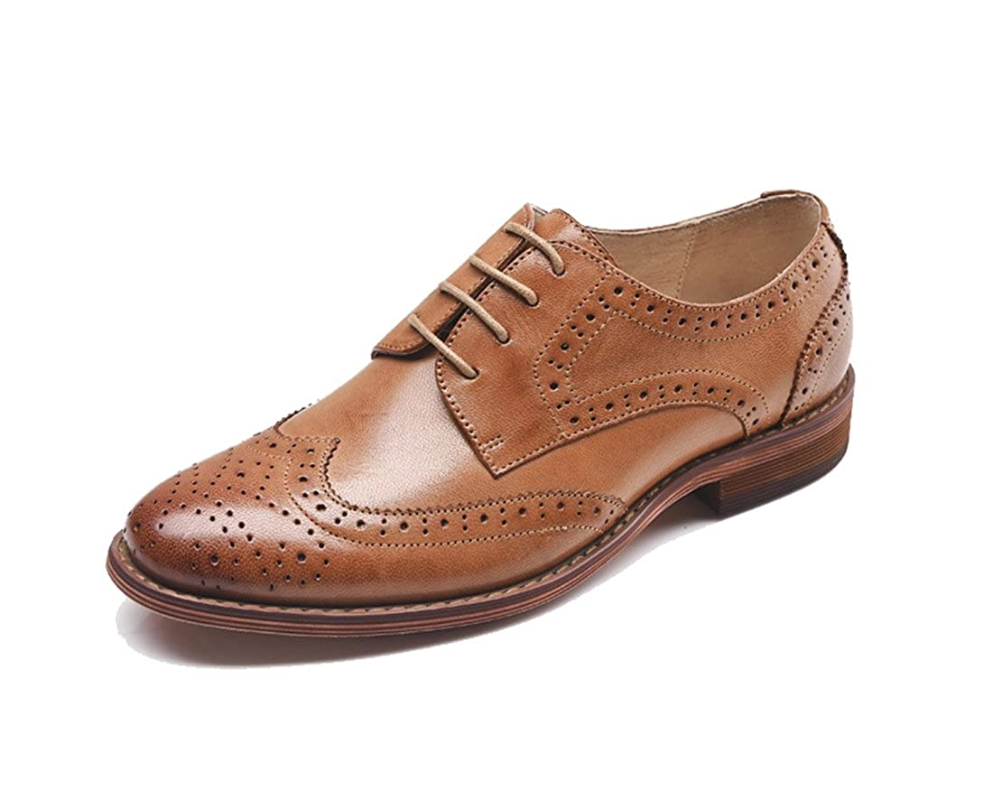 Style1 Brown TDA Women's Perforated Wingtip Lace-up Leather Dress Vintage Oxford Flat shoes