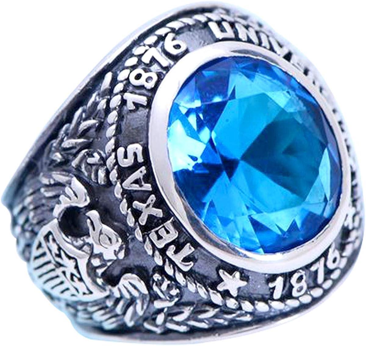 FORFOX Herren Vintage 925 Sterling Silber Blau Kristall Class Ring Schmuck mit Adler