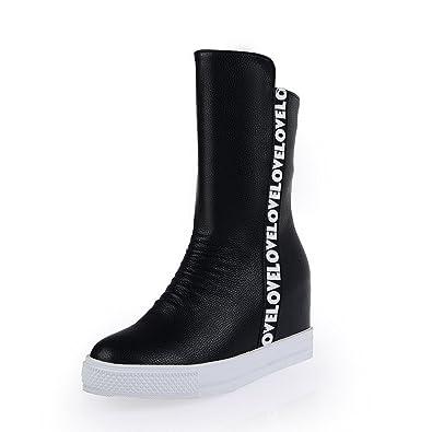 Women's Kitten-heels Round Closed toe Blend Materials Mid-calf Boots