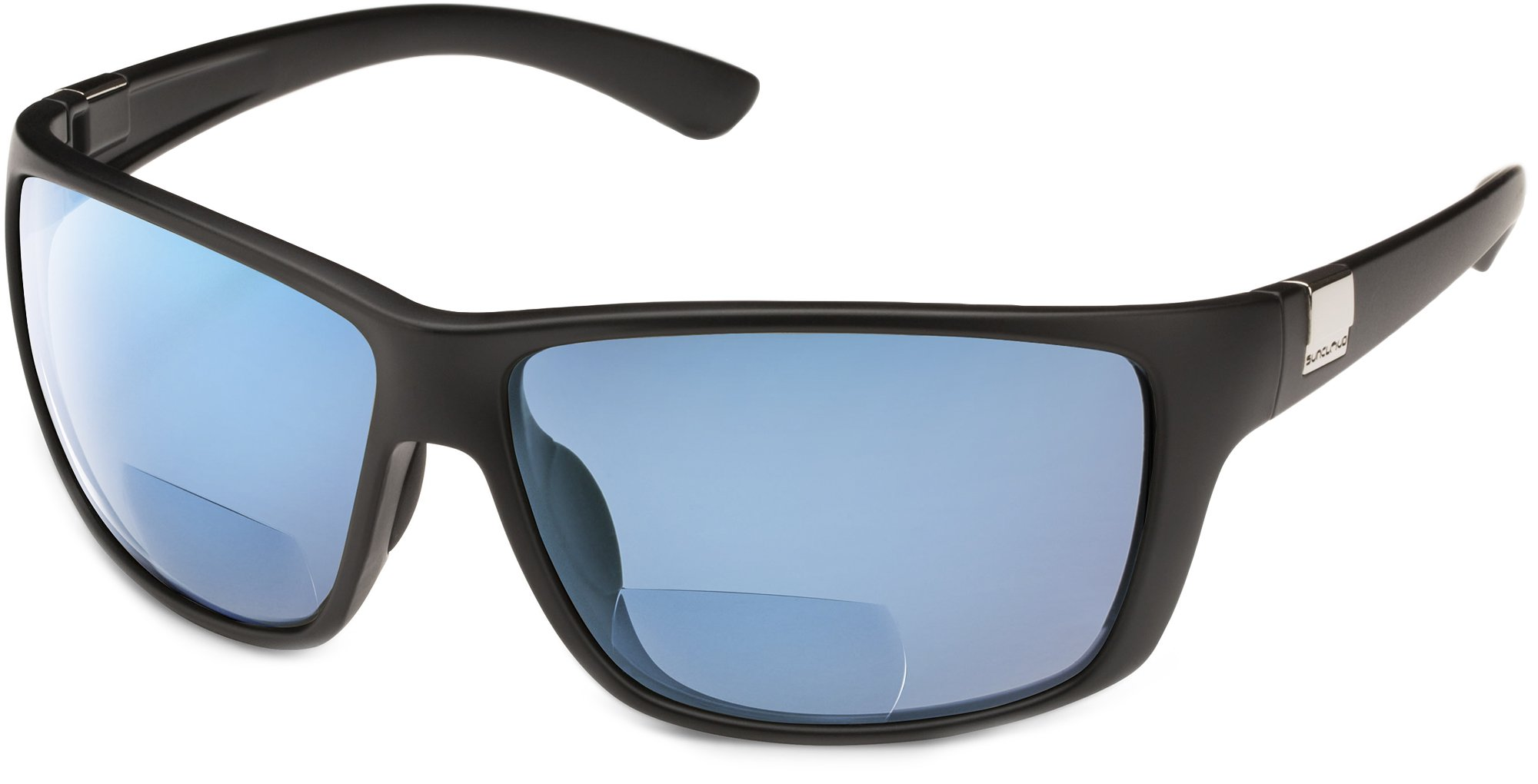 Suncloud Councilman Polarized Bi-Focal Reading Sunglasses in Matte Black with Blue Mirror Lens +1.50