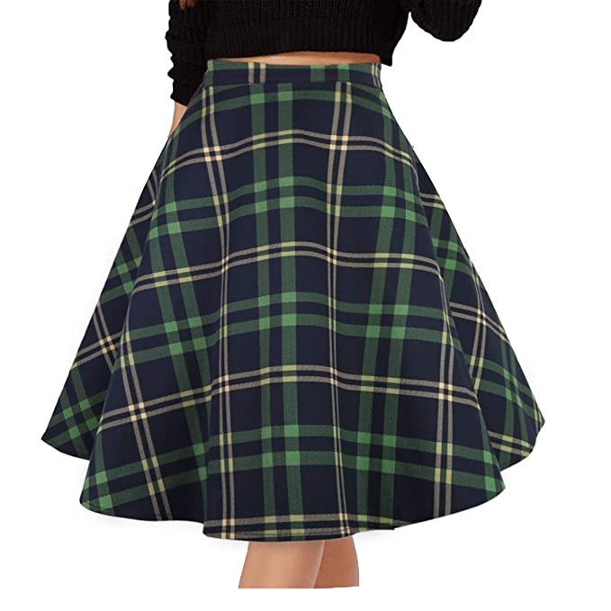 Retro Skirts: Vintage, Pencil, Circle, & Plus Sizes Musever Womens Pleated Vintage Skirts Floral Print Casual Midi Skirt $18.99 AT vintagedancer.com