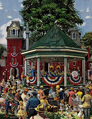 (Marmont Hill 39x30 Patriotic Band Concert by Stevan Dohanos Painting Print on Wrapped Canvas, 39