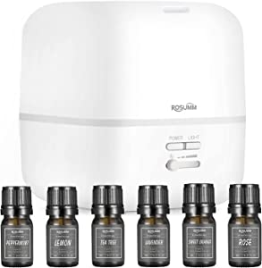 ROSUMM Essential Oil Diffuser, 400ML Ultrasonic Aromatherapy Diffuser Humidifier with 6 Essential Oil, Timer Feature, Waterless Auto-Off for Bedroom, Home, Large Room