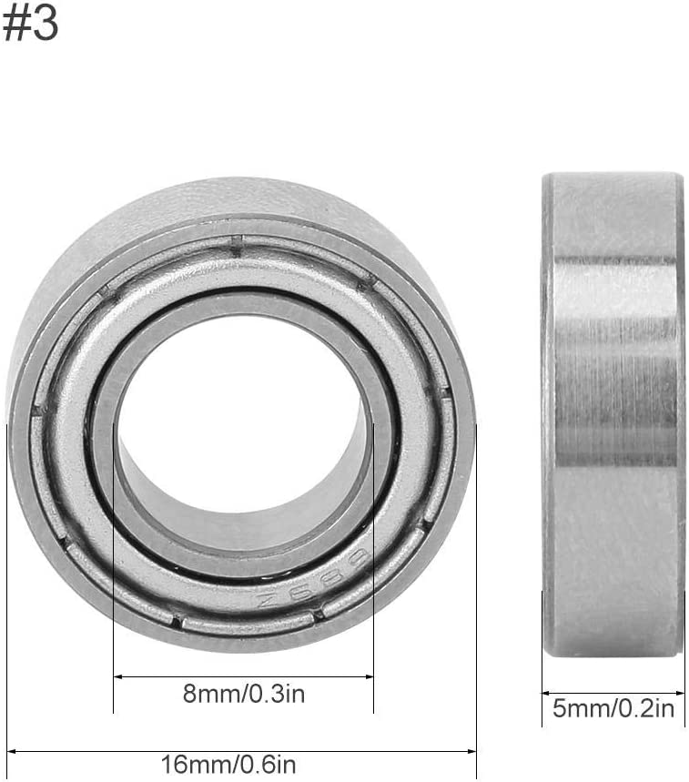 686-ZZ 6x13x5mm Deep Groove Bearings 10 Pack of Set Metal Shielded Bearing Miniature Ball Bearings