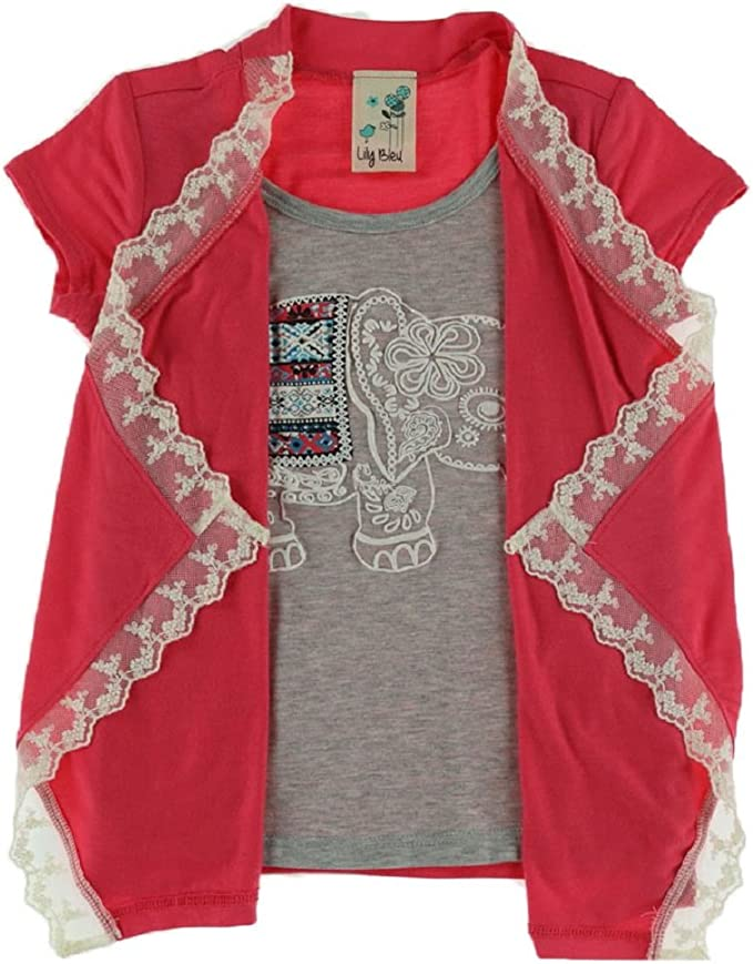 Lily Bleu Girls 4-6x Elephant Graphic Twofer Top