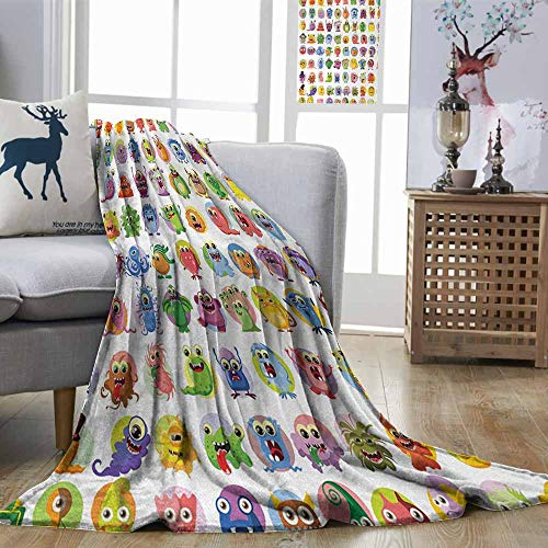 (Zmstroy Fashion Throwing Blanket Animation Cute Little Graphic Baby Mosters Great for Kids Nursery Room Colored Cartoons Art Multicolor Home, Couch, Outdoor, Travel Use W57 xL74)