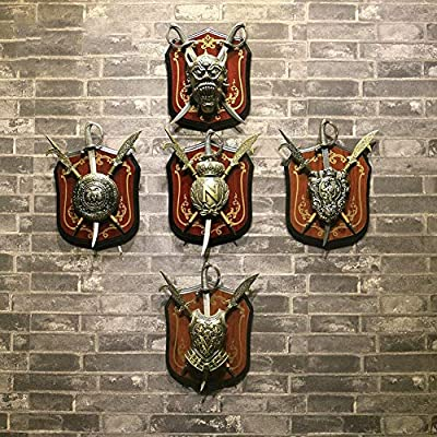 YIYIZHANG Wall Decoration Personality European Style Retro Armor Wall Mount American Hanging Ornament Bar Coffee Shop(1824cm) (Color : 1005): Home & Kitchen