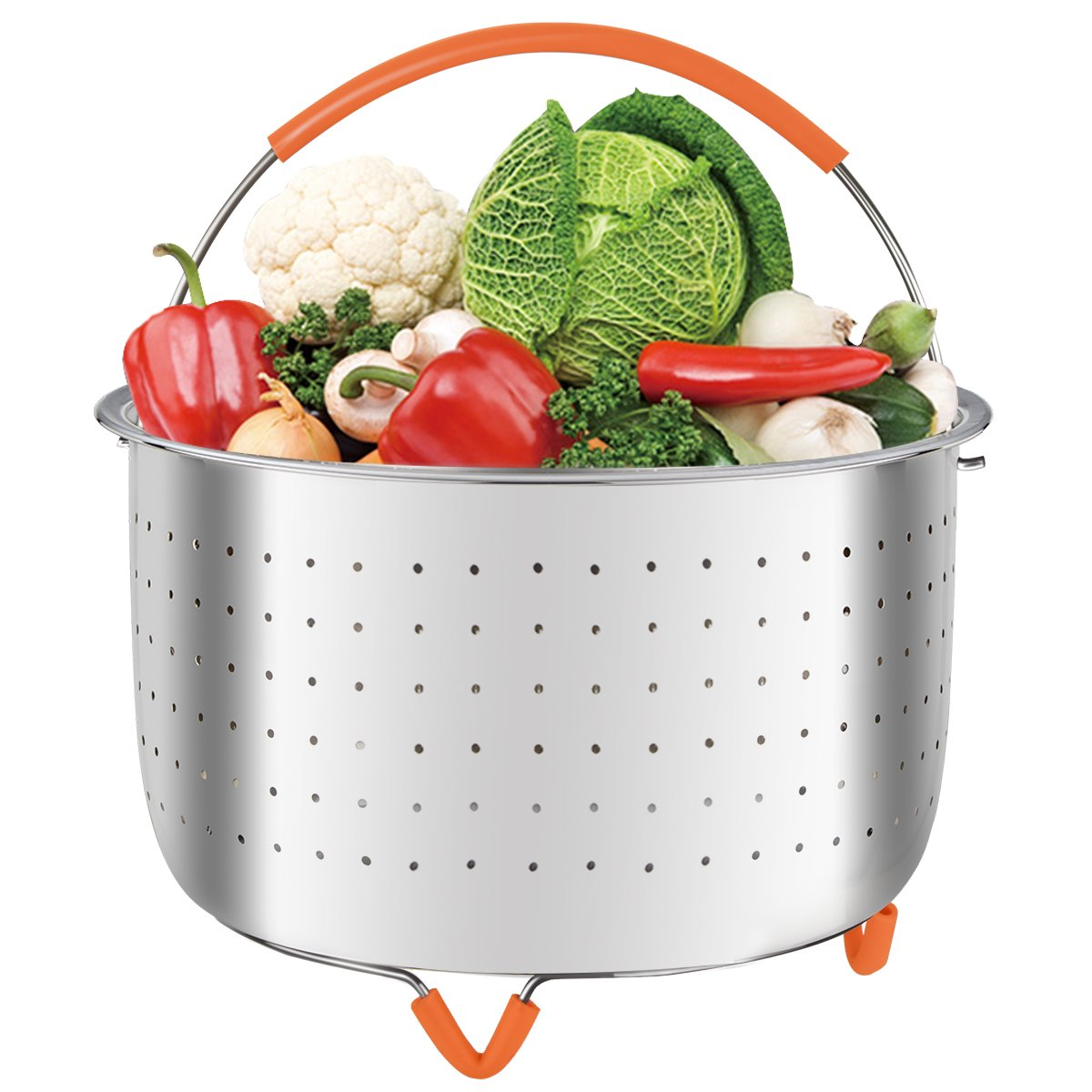 MASHANG Steamer Basket Stainless Steel Compatible for Instant Pot Fits Instapot 6 Quart/8 qt Steamer Insert Veggie Steamer with Silicone Handle and Non-Slip Legs for Steaming Vegetables Eggs