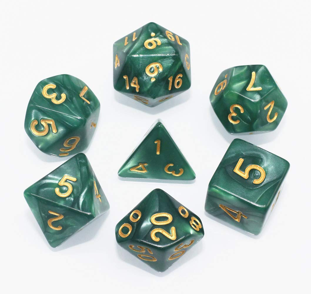 Lake Blue HD DICE DND Polyhedral Dice Set RPG Dice for Dungeons and Dragons D/&D Pathfinder Role Playing Games Pearl Dice