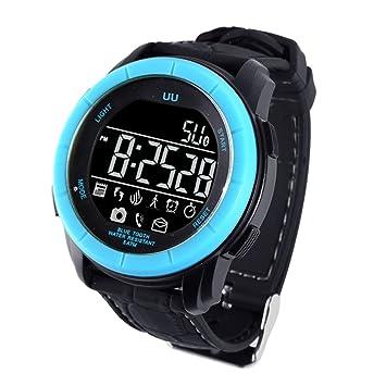 rungao UU reloj inteligente deporte impermeable Bluetooth inteligente reloj teléfono Mate para Android IOS, azul: Amazon.es: Deportes y aire libre