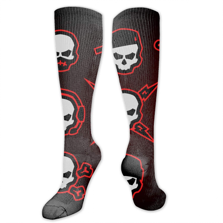 Skull Logo Digital Painting High Socks Crazy Socks Novelty Socks Unisex
