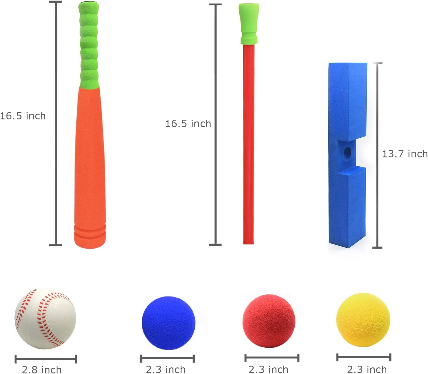 CeleMoon 16.5 Inch Kids Foam Soft T Ball Baseball Toy Set for Toddlers, 8 Different Colored Balls Included + Carrying Bag, Gift for Kids 1 2 3 Years Old, Orange: Sports & Outdoors
