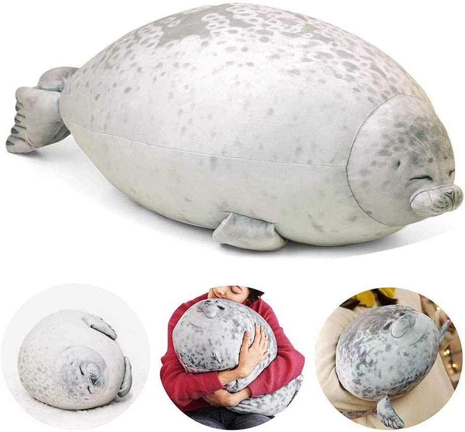 Joinhome Chubby Blob Seal Pillow, Giant Plush Stuffed Animal Fluffy Seal Toy Gifts for Baby Kids 31.4 Inch Beige