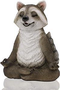 LIMEIDE Meditating Zen Yoga Raccon Figurine Garden Statue- Indoor/Outdoor Garden Raccon Sculpture for Home, Garden, Patio, Deck, Porch Yard Art or Lawn Decoration, 8.5